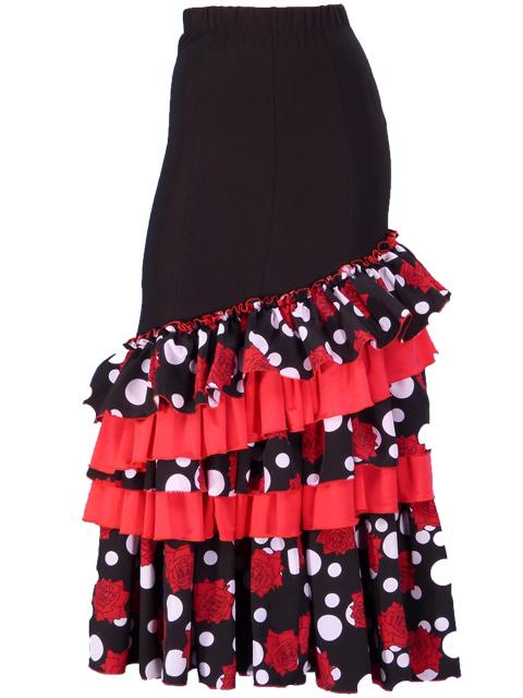 37ad3491bc9 Flamenco Polka Dots & Rose Printed Skirt with Frills/ Black / G1769b ...