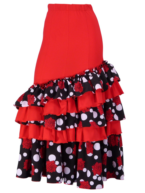 9d81ab7a9f9 Flamenco Polka Dots & Rose Printed Skirt with Frills/ Red / G1769r ...