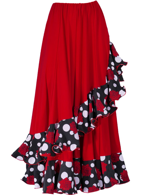 9d062f8028a Flamenco Polka Dots & Rose Printed Skirt with Frills/ Red / G1873r ...