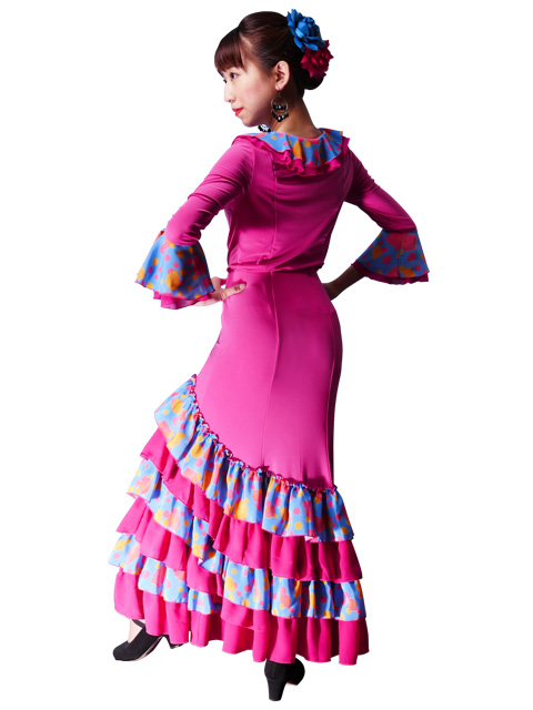 Wrap blouse TATI dance blouse with ruffled sleeves for flamenco dotted with lace