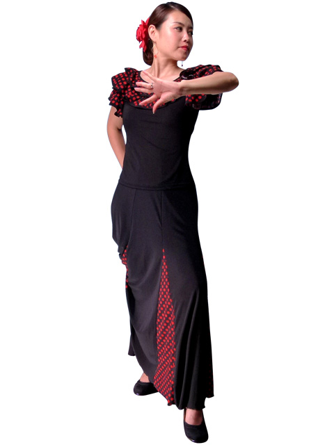 bc8aa8281 ... Flamenco Skirt with Black and Red Polka Dots/ Black & Red / G887r ...