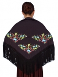 Mantones with Multi-colored Embroidery / Black / G1321