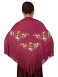 Mantones with Multi-colored Embroidery / Wine Red / G1324