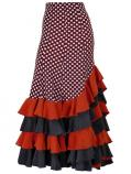 Mermaid Flamenco Polka Dots Skirt with Frills/ Brown / G1994br