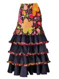 Flared Flamenco Skirt with 5 Layer Frills / Velvet & Shantung / Model Odalis / Black / G2431bk