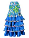 Flared Flamenco Skirt with 5 Layer Frills / Velvet & Shantung / Model Odalis / Blue / G2431bl