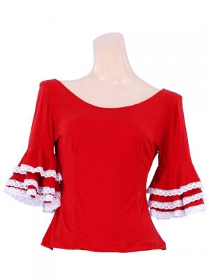 Flamenco Blouse with Lace Flounces and Ruffles/ Red / G1781r