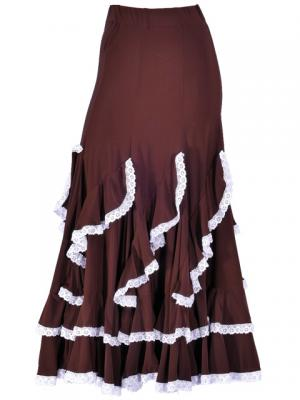 Flamenco Ruffles Skirt with Lace/ Brown / G1782br