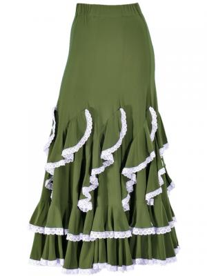 Flamenco Ruffles Skirt with Lace/ Green / G1782gr