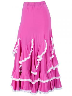 Flamenco Ruffles Skirt with Lace/ Pink / G1782pi