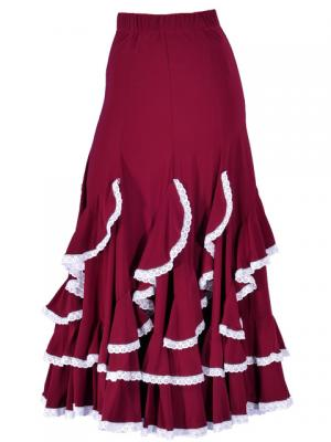 Flamenco Ruffles Skirt with Lace/ Wine / G1782wi