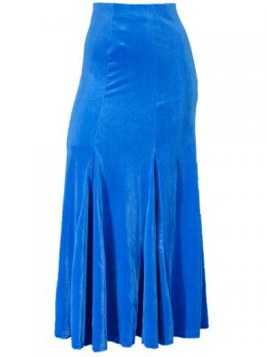 Mermaid Cut Flamenco Skirt with Velvet / Blue / G1905blb