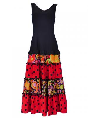 Flamenco Dress / Paisely / Model Cande / Black & Red / G2383bkrd