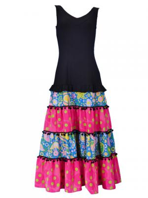 Flamenco Dress / Paisely / Model Cande / Green & Pink / G2383grpi