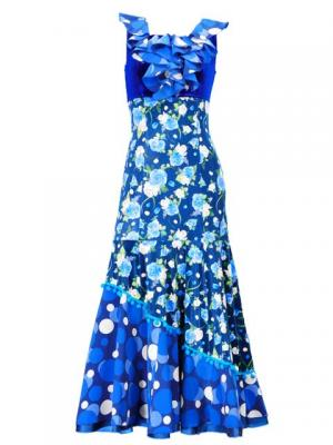 Flamenco Semi Mermaid Velvet Dress with Rose & Dots  / Model Avril / Blue & Blue / G2443blbl