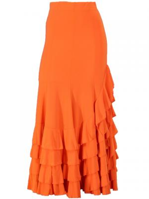 Mermaid Cut Flamenco Skirt with 8 Layers of Ruffles / Orange / G845